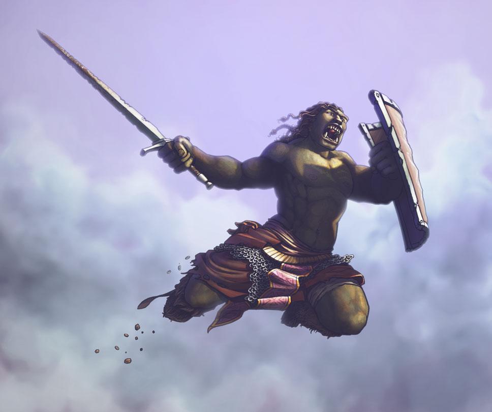 Daigo, the half-orc barbarian.